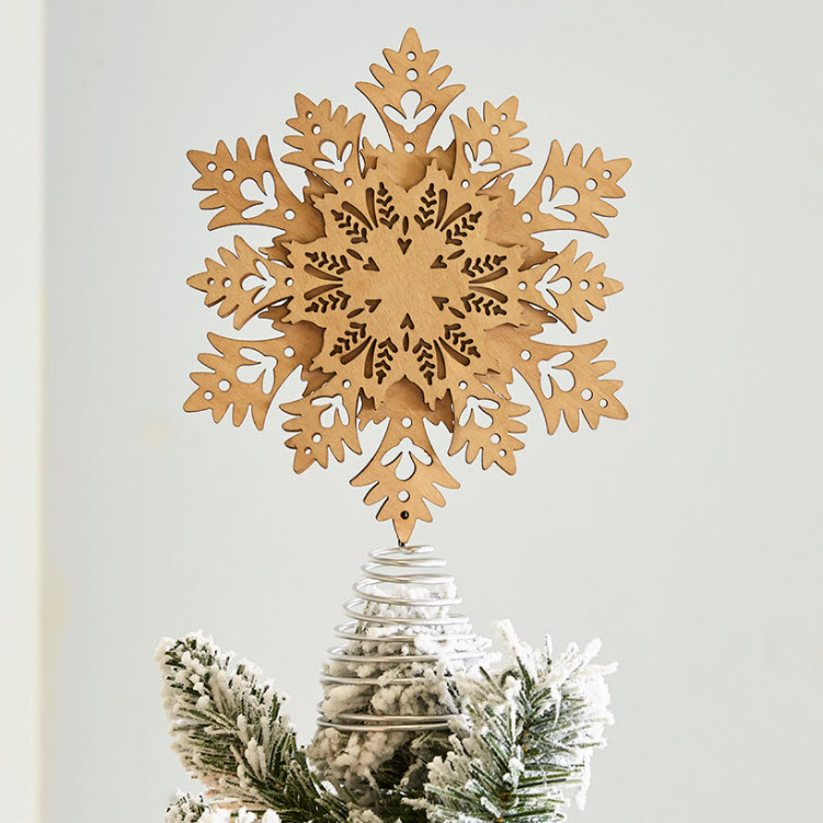 Winter Woodland Holiday Tree Decorations - snowflake tree topper
